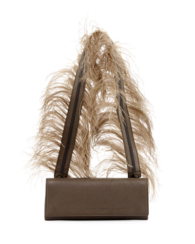 Feather-Strap Chest Crossbody Bag
