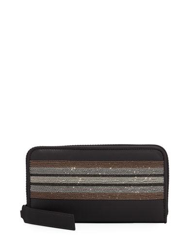 Monili-Trim Zip-Around Wallet