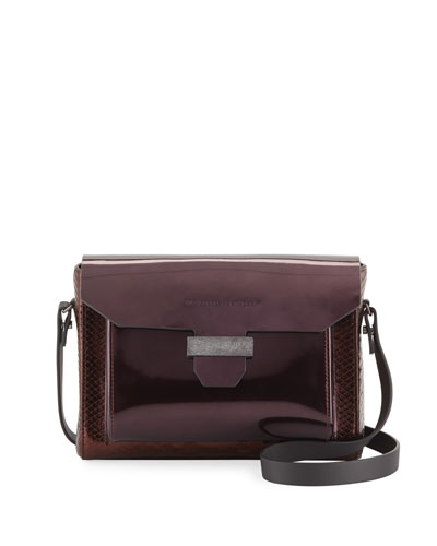 Glossy Python and Mirrored Leather Crossbody Bag