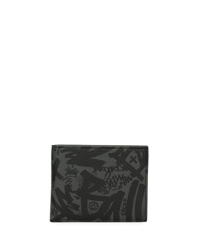Bevye Graffiti-Print Leather Wallet, Gray
