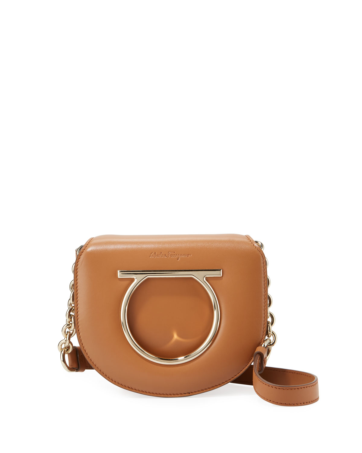 Small Gancio Crossbody Bag, Light Brown