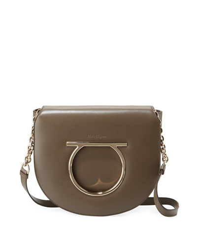 Large Gancio Leather Shoulder Bag, Taupe