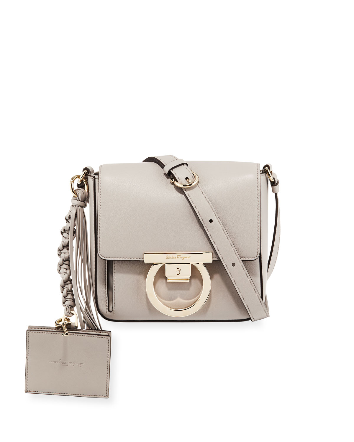 Small Leather Lock Crossbody Bag