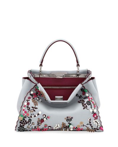 Peekaboo Regular Calf Tote Bag with Silk Flowers and Pearly Beads
