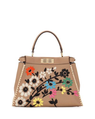 Fendi Peekaboo Regular Calf Tote Bag With Silk Flowers In Beige ... 5662caa9db1be