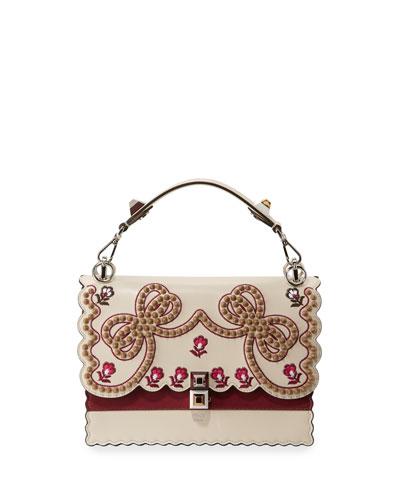 Kan I Medium Bow Embroidered Shoulder Bag