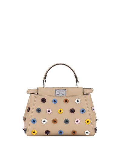 Peekaboo Mini Napa Satchel Bag with Patent Flowers