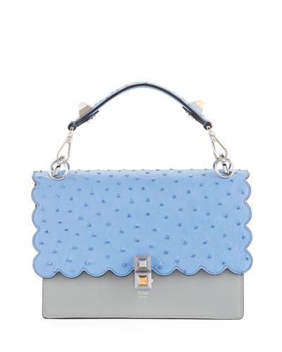 Kan I Medium Ostrich/Calf Shoulder Bag