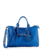 3D Massai Medium Leather Tote Bag, Blue