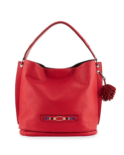 3D Massai Medium Leather Tote Bag, Red