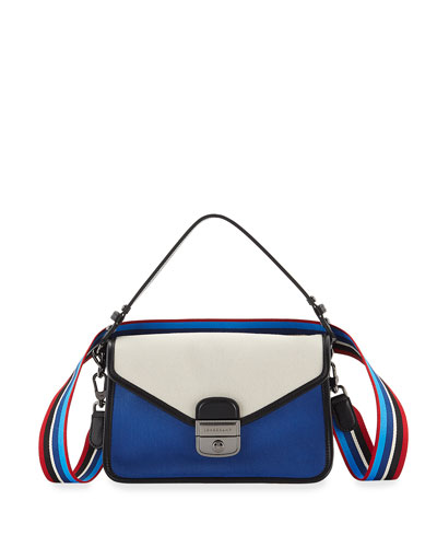 Mademoiselle Colorblock Canvas Toile Large Crossbody Bag, Blue