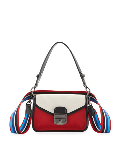 Mademoiselle Colorblock Canvas Toile Small Crossbody Bag, Red