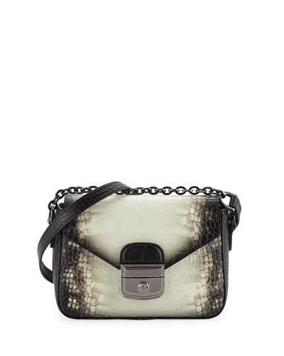 Le Pliage Heritage Small Croc-Embossed Crossbody Bag