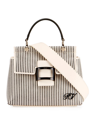 Viv Cabas Mini Shirting Striped Top-Handle Bag