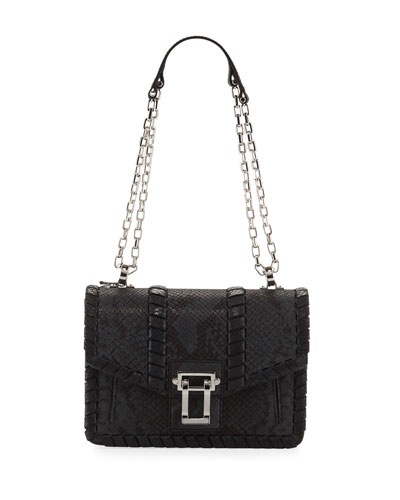 Hava Chain Leather Crossbody Bag, Gray