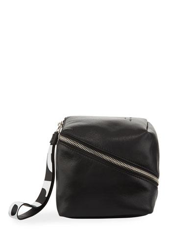 Mini Cube Super Glass Leather Wristlet Bag