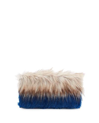 Colorblock Faux-Fur Clutch Bag