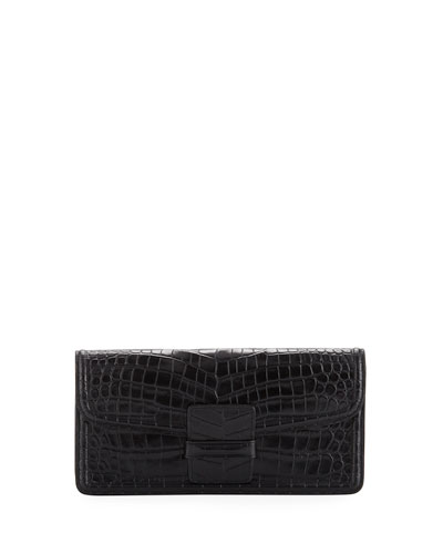 Crocodile-Embossed Clutch Bag