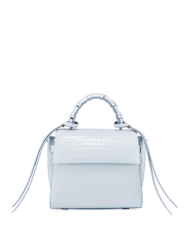 Angel Small Croc-Print Top Handle Bag