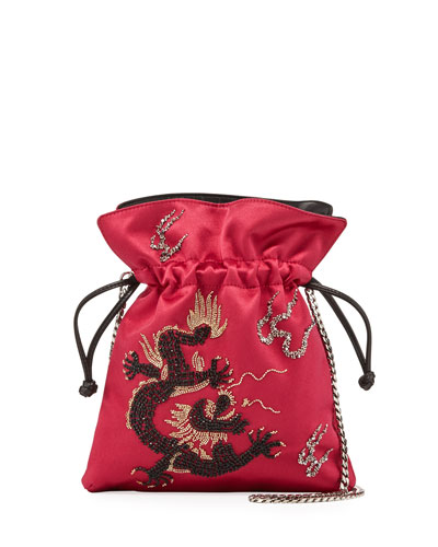 Trilly Dragoon Satin Bucket Bag, Fuchsia