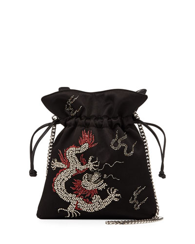 Trilly Dragoon Satin Bucket Bag, Black
