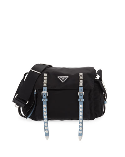 Black Nylon Messenger Bag, Black/Blue