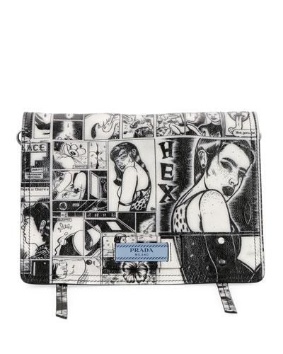 Prada Comic-Print Etiquette Shoulder Bag