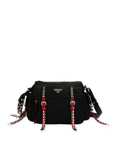 Black Nylon Messenger Bag with Studding, Black/Red