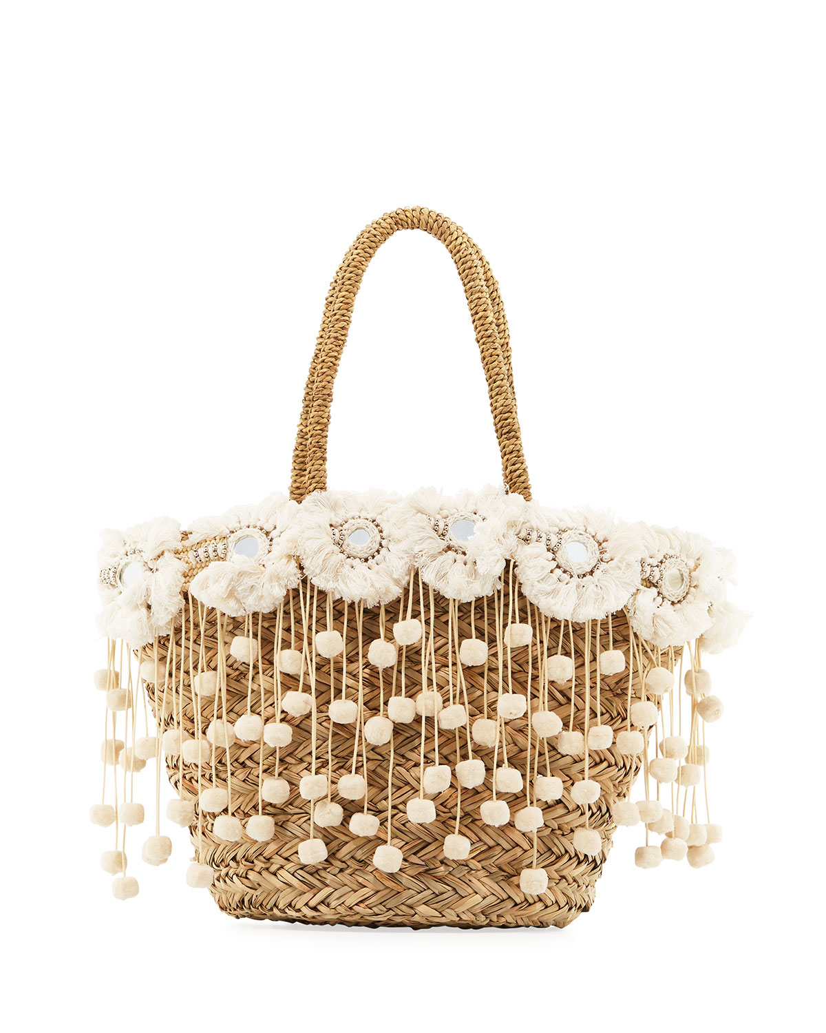 Kailua Straw Beach Tote Bag with Fringe & Pompom Trim