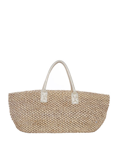 Manarola East-West Straw Beach Tote Bag