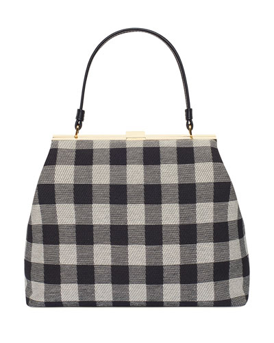 Check Canvas Elegant Top-Handle Bag