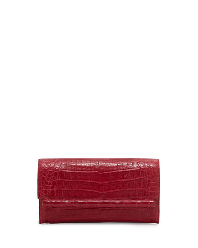 Small Crocodile Bar Clutch Bag, Red Shiny