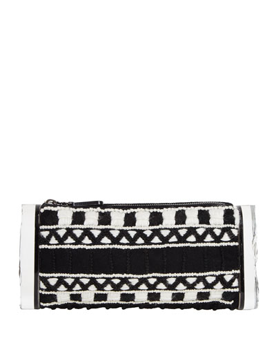Soft Lara Embroidered Clutch Bag, Black Multi