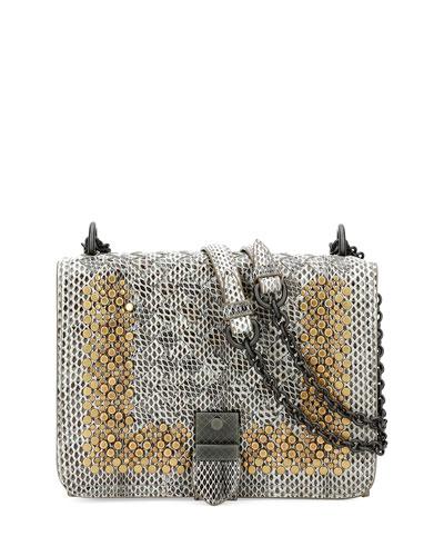Small Flap Studded Snakeskin Crossbody Bag