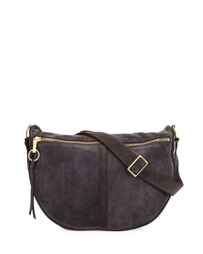 Scott Suede Half-Moon Shoulder Bag