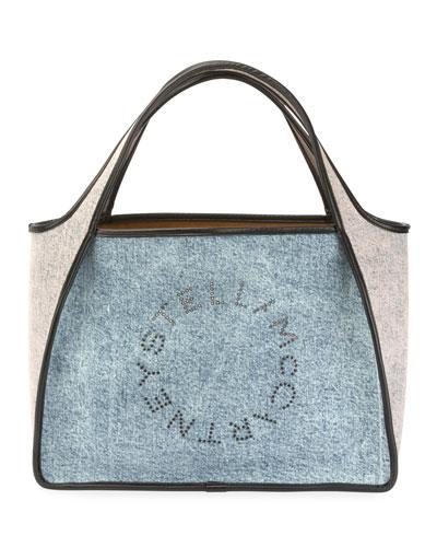 Two-Tone Denim Logo Tote Bag