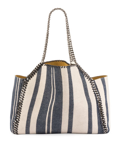 Falabella Striped Canvas Small Tote Bag