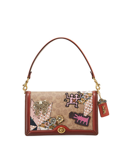 Coated Canvas Embellished Patchwork Crossbody Bag