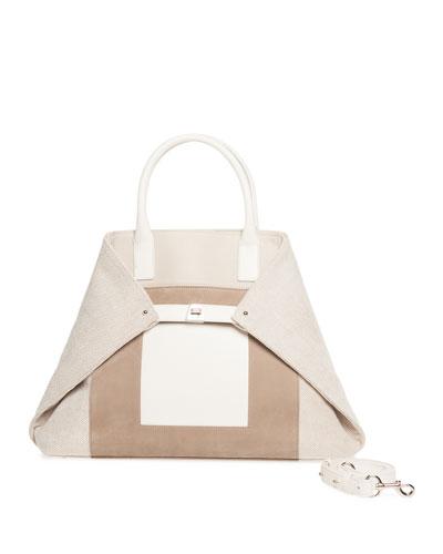 Ai Medium Canvas & Leather Top-Handle Bag