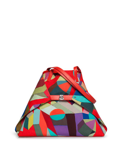 Ai Medium Printed Nylon Soft Shoulder Bag