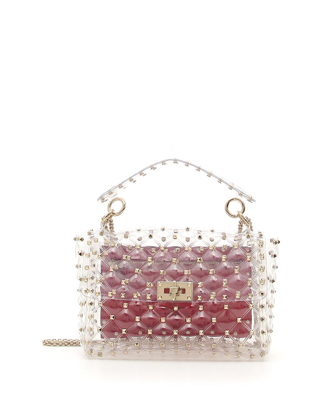 Rockstud Spike Plexi Medium Shoulder Bag