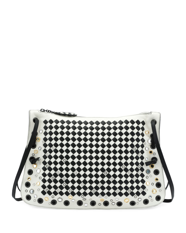 Zip Top Intrecciato Crossbody Bag
