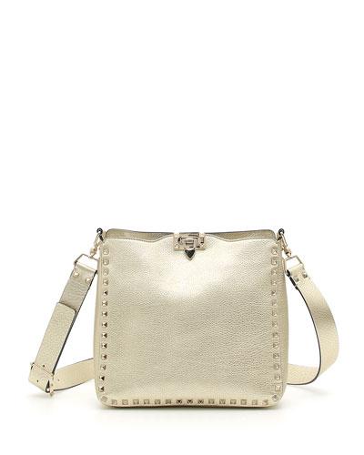 Rockstud Small Metallic Leather Hobo Bag