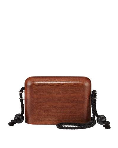 Wood Evening Case Crossbody Bag