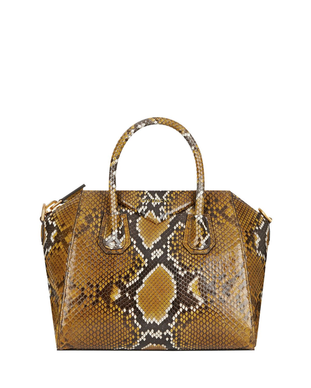 Antigona Small Shiny Python Satchel Bag
