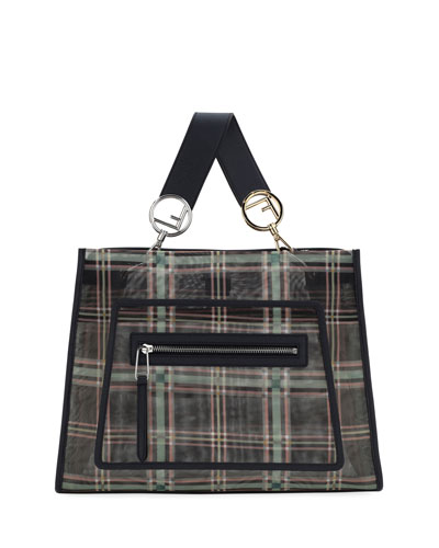 Runaway FF Tartan Mesh Shopping Tote Bag