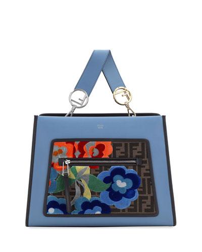 Runaway Regular Embroidered Century Tote Bag, Blue