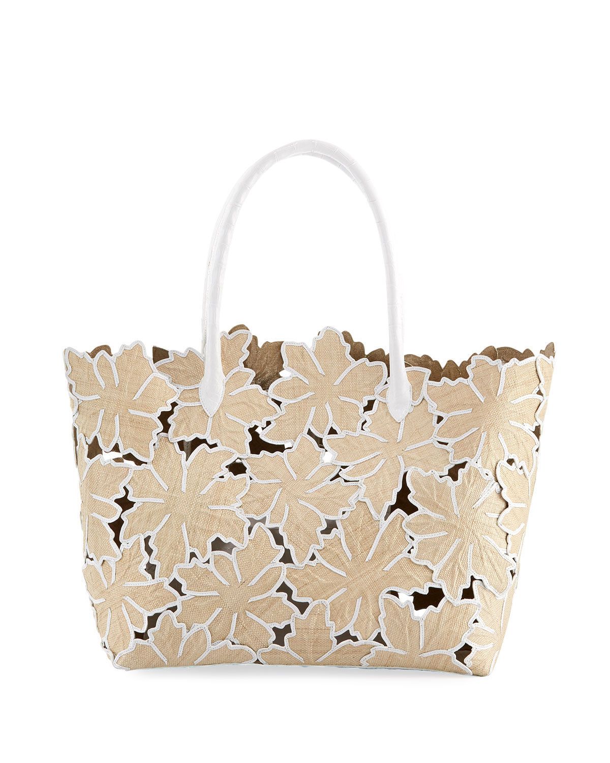 Medium Floral Straw Tote Bag