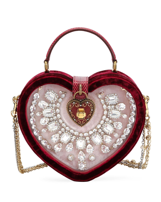 My Heart Velvet and Snakeskin Shoulder Bag