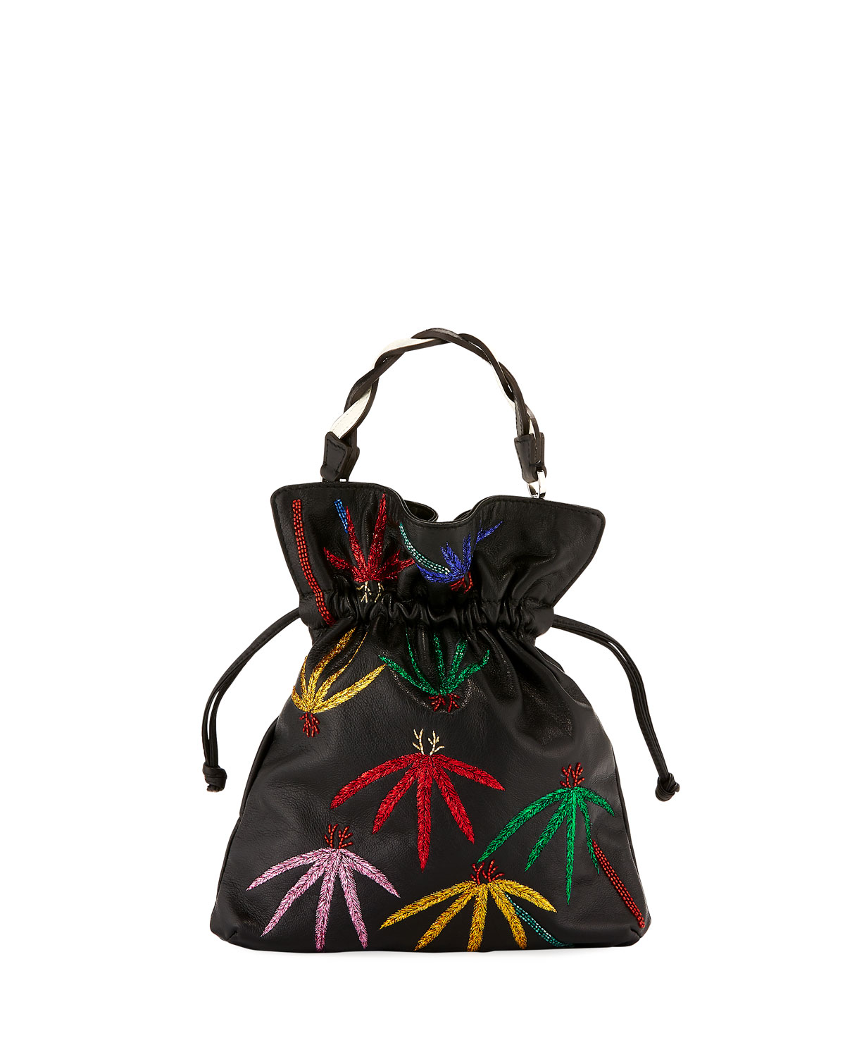 Trilly Palms Braid Embroidered Pouch Bag